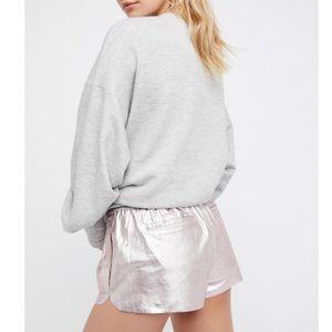 Free People Rose Gold Metallic Leather Shorts